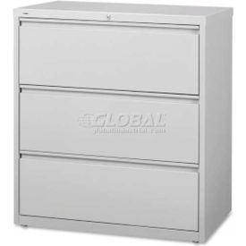 "Lorell High Quality 3-Drawer Lateral File, LLR88029, 36""W x 18-5/8""D x 40-1/4""H, Light Gray"