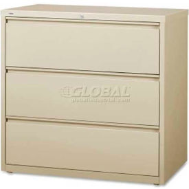 "Lorell High Quality 3-Drawer Lateral File, LLR88030, 42""W x 18-5/8""D x 40-1/4""H, Putty"