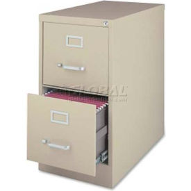 """Lorell Commercial Grade 2-Drawer Vertical File Cabinet, LLR88033,15""""W x 28""""D x 28-1/2""""H, Putty"""