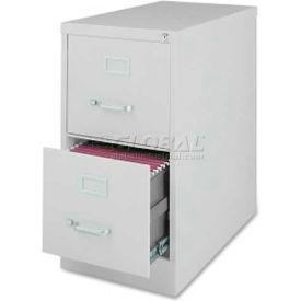 "Lorell Commercial Grade 2-Drawer Vertical File Cabinet, LLR88035,15""W x 28""D x 28-1/2""H, Light Gray"