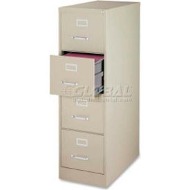 """Lorell Commercial Grade 4-Drawer Vertical File Cabinet, LLR88036, 15""""W x 28-1/2""""x52"""", Putty"""