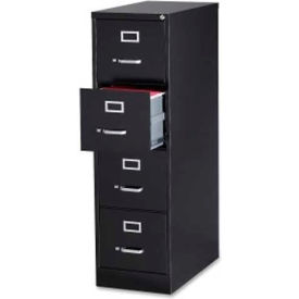 "Lorell Commercial Grade 4-Drawer Vertical File Cabinet, LLR88037, 15""W x 28-1/2""D x 52""H, Black"
