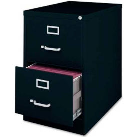 """Lorell Commercial Grade 2-Drawer Vertical File Cabinet, LLR88043, 18""""W x 28-1/2""""D x 28-3/4""""H, Black"""