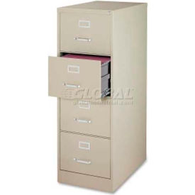 """Lorell Commercial Grade 4-Drawer Vertical File Cabinet, LLR88045, 18""""W x 28-1/2""""D x 52""""H, Putty"""