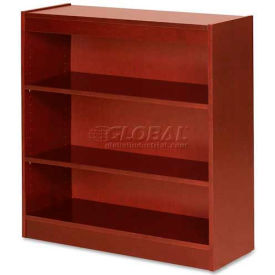 "Lorell® 3-Shelf Panel End Hardwood Veneer Bookcase, 36""W x 12""D x 36""H, Cherry"