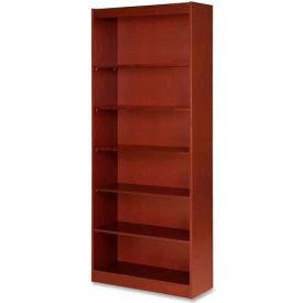 "Lorell® 7-Shelf Panel End Hardwood Veneer Bookcase, 36""W x 12""D x 84""H, Cherry"