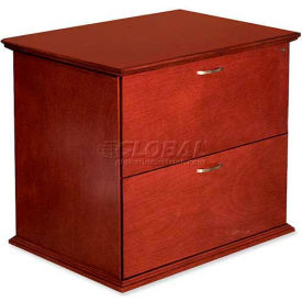 """Lorell® 9000 Series 2-Drawer Lateral File, 33""""W x 29""""D x 24""""H, Mahogany"""