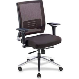 Lorell® Low-Back Swivel Executive Chair, Black Leather Seat/Mesh Back
