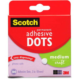 """3M Adhesive Dots, Medium Craft, .3""""D, 300/BX, Clear by"""