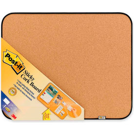 "Post-it Sticky Cork Board with Black Frame, 22""W x 18""H"