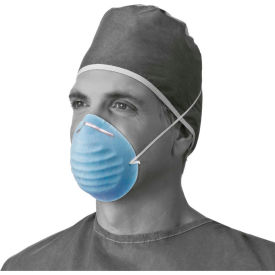 Medline NON27381 Surgical Cone-Style Face Masks, Blue, 50/Box