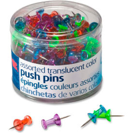 "OIC Translucent Push Pins - 0.50"" Length - 200 / Pack - Assorted"