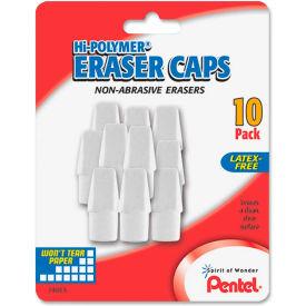 Pentel Hi-Polymer White Pencil Cap Erasers, 10/PK by