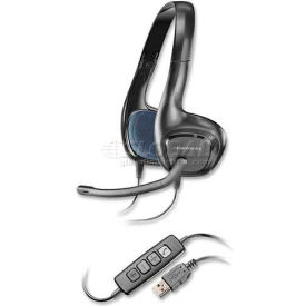 Plantronics Stereo Headset, AUDIO628, USB, Noise Cancelling Mic, 6.56' Cord, Black/Blue