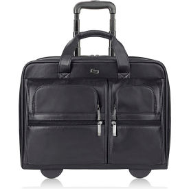 """Solo Classic Rolling Case, USLD957-4, 17.5"""" x 13"""" x 4.85"""", Black Leather"""