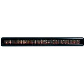 """U.S. Stamp & Sign Message LED Signs, 3527, 24 Characters, Customizable, 4-1/2"""" X 39"""" X 2"""", Black"""