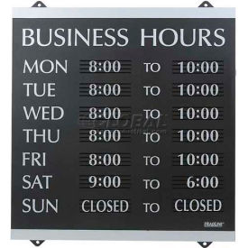 "U.S. Stamp & Sign Business Hours Sign, 4247, W/176 3/4"" Characters, 14"" X 13"", Black/Silver"