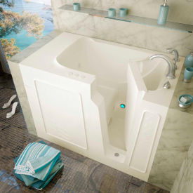 MediTub 2952 Series Rectangular Whirlpool Walk-In Bathtub, 29 x 52, Right Drain , Biscuit