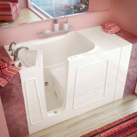 MediTub 3053 Series Rectangular Whirlpool Walk-In Bathtub, 30 x 53, Left Drain , Biscuit