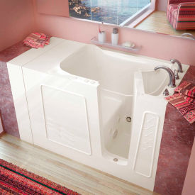 MediTub 3053 Series Rectangular Whirlpool Walk-In Bathtub, 30 x 53, Right Drain , Biscuit