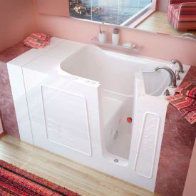 MediTub 3053 Series Rectangular Whirlpool Walk-In Bathtub, 30 x 53, Right Drain , White
