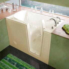 MediTub 3054 Series Rectangular Air Jetted Walk-In Bathtub, 30 x 54, Right Drain, Biscuit