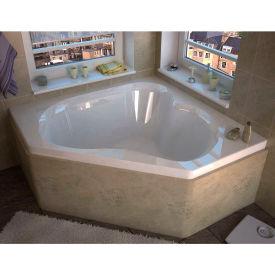 Atlantis Whirlpools Cascade Corner Soaking Bathtub, 60 x 60, Center Drain, White
