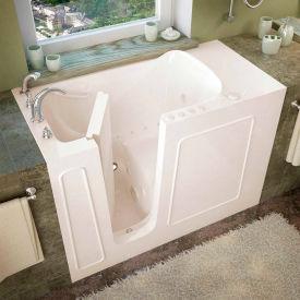 Spa World Venzi Rectangular Air & Whirlpool Walk-In Bathtub, 26x53, Left Drain, Biscuit