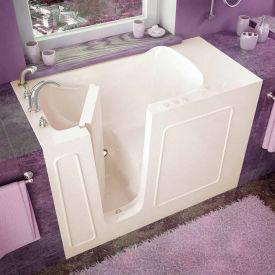 Spa World Venzi Rectangular Soaking Walk-In Bathtub, 26x53, Left Drain, Biscuit