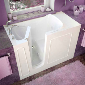 Spa World Venzi Rectangular Whirlpool Walk-In Bathtub, 26x53, Left Drain, White