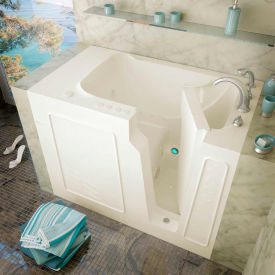 Spa World Venzi Rectangular Air & Whirlpool Walk-In Bathtub, 29x52, Right Drain, Biscuit