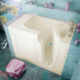 Spa World Venzi Rectangular Whirlpool Walk-In Bathtub, 29x52, Right Drain, Biscuit