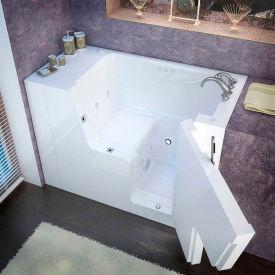 Spa World Venzi Rectangular Air & Whirlpool Walk-In ADA Bathtub, 29x53, Right Drain, White