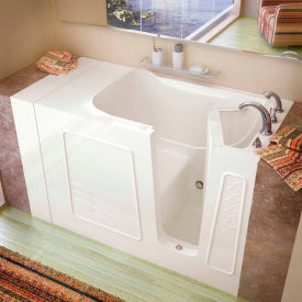 Spa World Venzi Rectangular Soaking Walk-In Bathtub, 30x53, Right Drain, Biscuit
