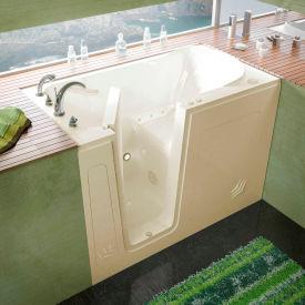 Spa World Venzi Rectangular Air Jetted Walk-In Bathtub, 30x54, Left Drain, Biscuit