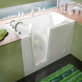 Spa World Venzi Rectangular Air Jetted Walk-In Bathtub, 30x54, Left Drain, White