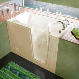 Spa World Venzi Rectangular Air Jetted Walk-In Bathtub, 30x54, Right Drain, Biscuit