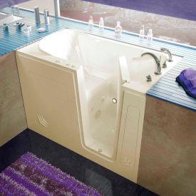 Spa World Venzi Rectangular Whirlpool Walk-In Bathtub, 30x54, Right Drain, Biscuit