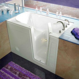 Spa World Venzi Rectangular Soaking Walk-In Bathtub, 30x54, Right Drain, White