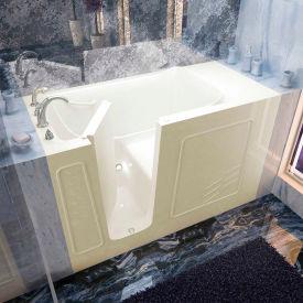 Spa World Venzi Rectangular Soaking Walk-In Bathtub, 30x60, Left Drain, Biscuit