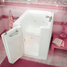 Spa World Venzi Rectangular Whirlpool Walk-In Bathtub, 32x38, Offset Drain, White