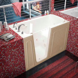 Spa World Venzi Rectangular Air & Whirlpool Walk-In Bathtub, 32x60, Left Drain, Biscuit