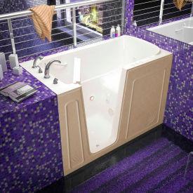 Spa World Venzi Rectangular Whirlpool Walk-In Bathtub, 32x60, Left Drain, Biscuit