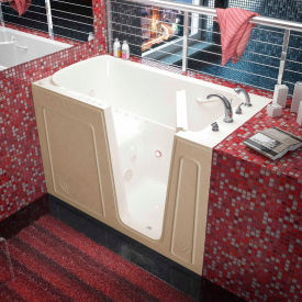 Spa World Venzi Rectangular Air & Whirlpool Walk-In Bathtub, 32x60, Right Drain, Biscuit