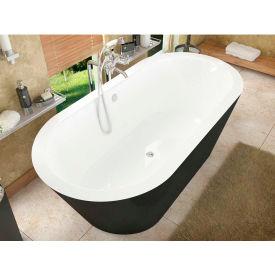 Spa World Venzi Tre Oval Soaking Bathtub Bathtub, 32x65, Center Drain, White Inside, Black Outside