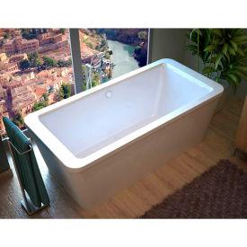 Spa World Venzi Aquilia Rectangular Soaking Bathtub Bathtub, 32x67, Center Drain, White