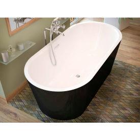 Spa World Venzi Tre Oval Soaking Bathtub Bathtub, 32x67, Center Drain, White Inside, Black Outside
