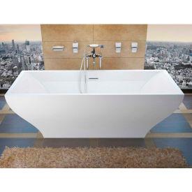 Spa World Venzi Prima Rectangular Soaking Bathtub Bathtub, 32x71, Center Drain, White