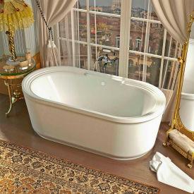 Spa World Venzi Padre Oval Soaking Bathtub Bathtub, 34x67, Center Drain, White