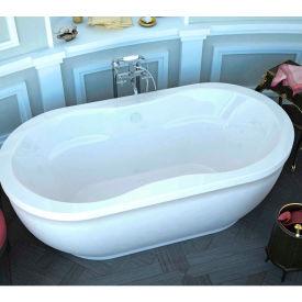 Spa World Venzi Velia Oval Soaking Bathtub Bathtub, 34x71, Center Drain, White